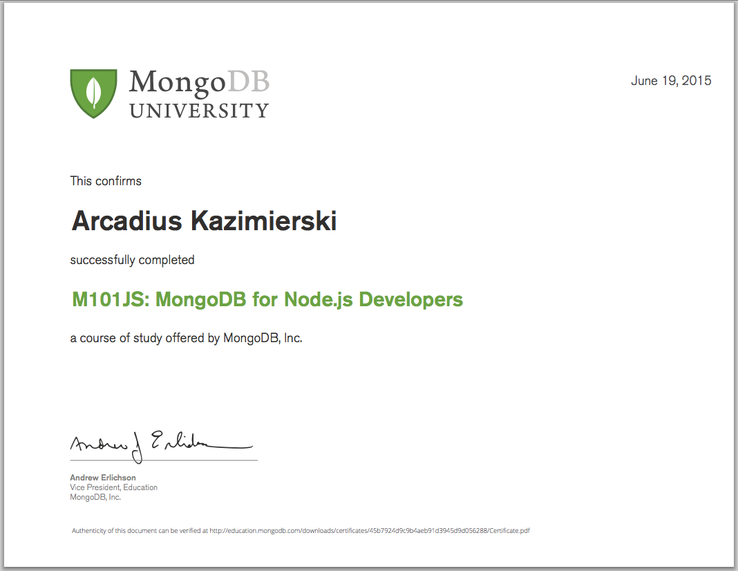 M101JS: MongoDB for Node.js Developers - Final Grade 100% - Certificate of Completion
