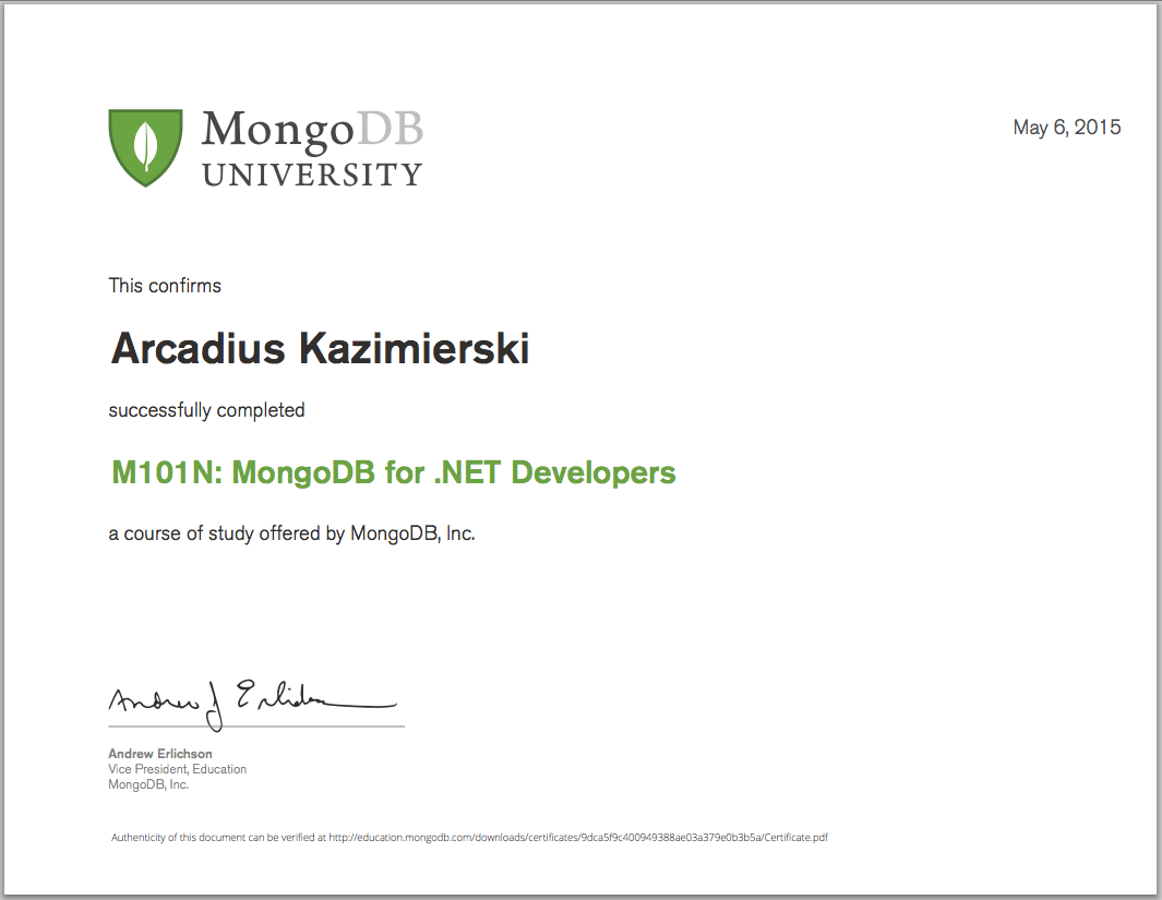 M101N: MongoDB for .NET Developers - Final Grade 90% - Certificate of Completion