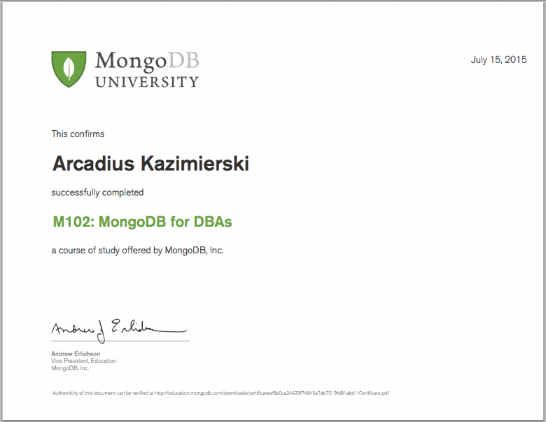 M102: MongoDB for DBAs - Final Grade 90% - Certificate of Completion