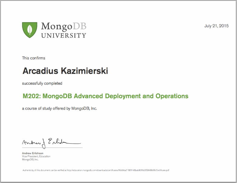 M202: MongoDB Advanced Deployment and Operations - Final Grade 100% - Certificate of Completion