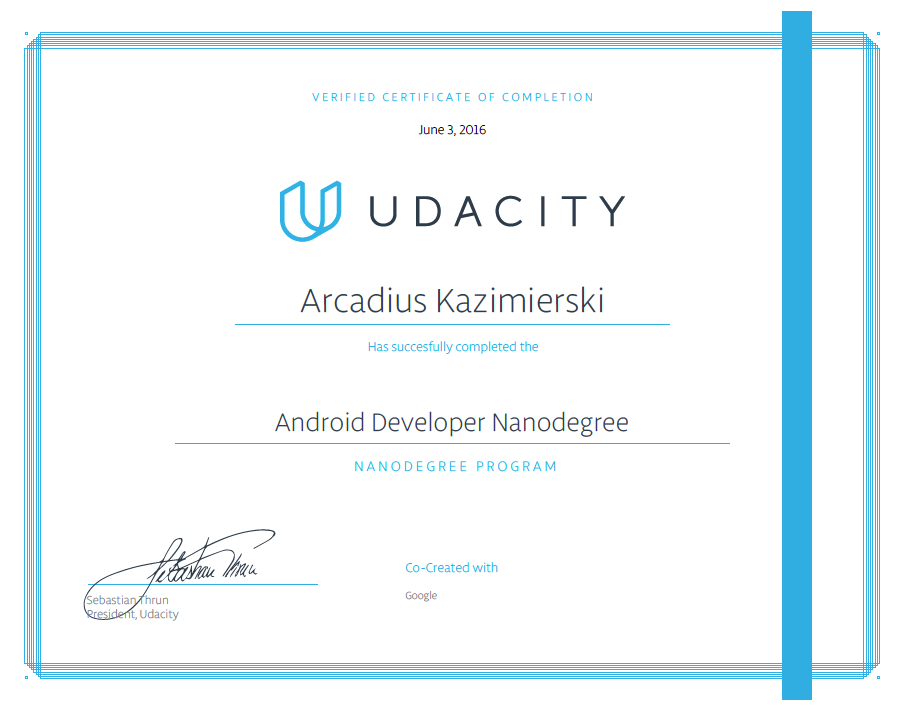 Udacity Android Developer Nanodegree - Graduation - Certificate of Completion
