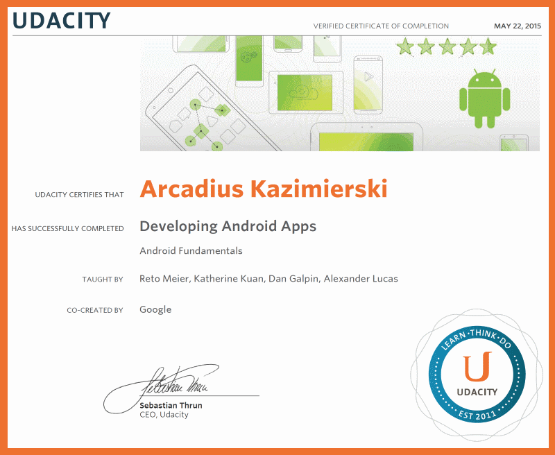Developing Android Apps - Certificate of Completion - Udacity