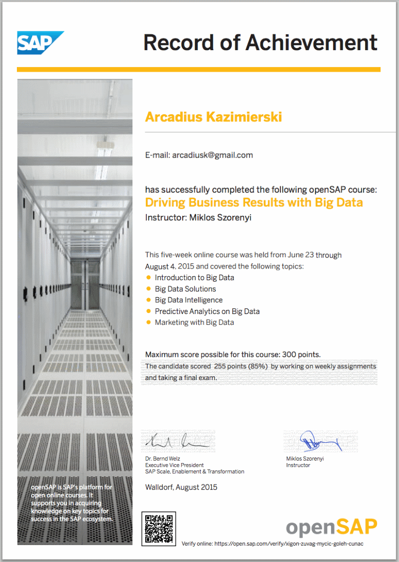 Driving Business Results with Big Data - Final Grade 85% - openSAP Record of Achievement